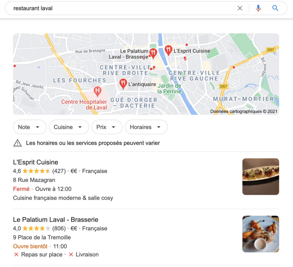 google my business restaurant laval